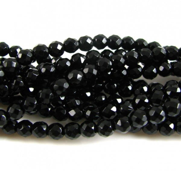 Faceted Black Onyx Round Strand - 64 Facets