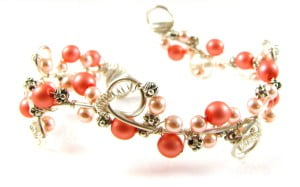 wire wrapped cuff coral pink