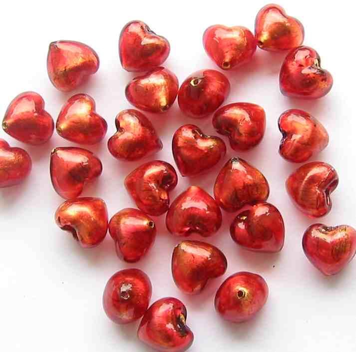 10mm Murano Heart Beads
