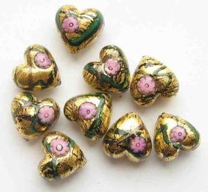 14mm Murano Heart Beads