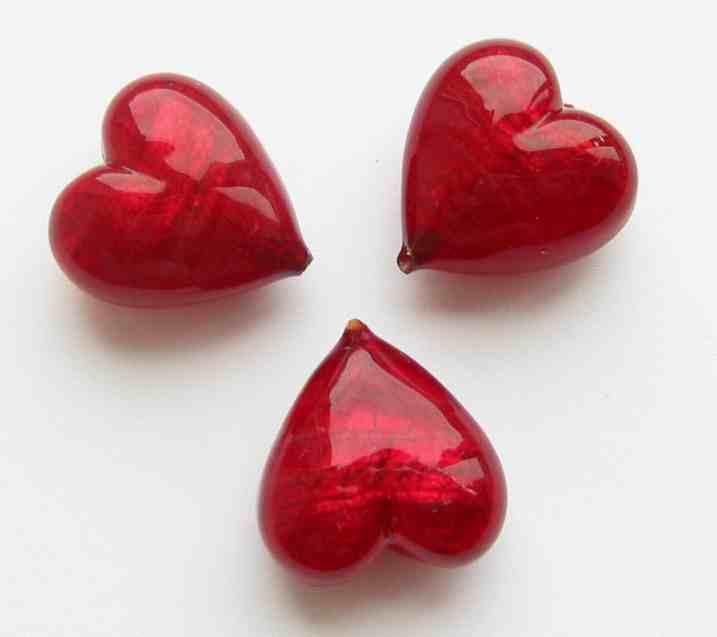 20mm Murano Heart Beads