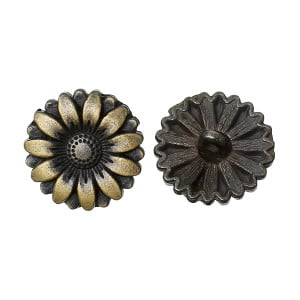 Brass Sunflower Button
