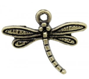 Antique Brass Dragonfly Charm