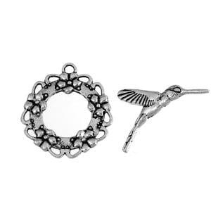 Antique Silver Hummingbird Toggle