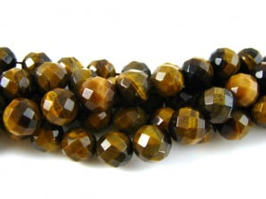 Tigers-Eye10mm-Faceted-128-facets-Round-Bead-Strand