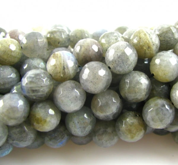 8mm Labradorite Faceted Round Strand