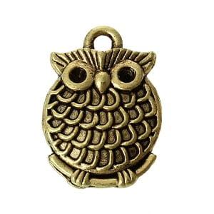 Antique Brass Owl Charm