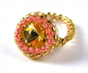 crystal champagne ring
