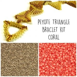Peyote triangle kit coral