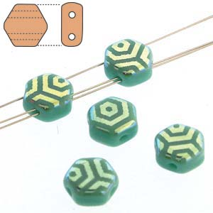 Honeycomb 6mm Strand of 30 – Turquoise Green Laser Web AB