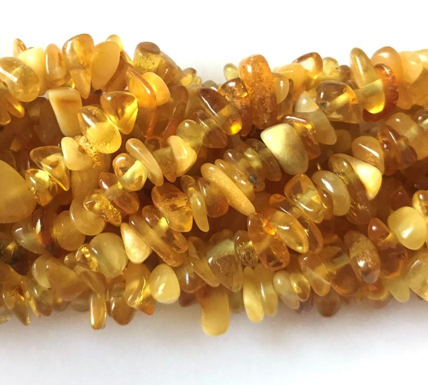 6x8mm Natural Amber Chip Strand Spoilt Rotten Beads
