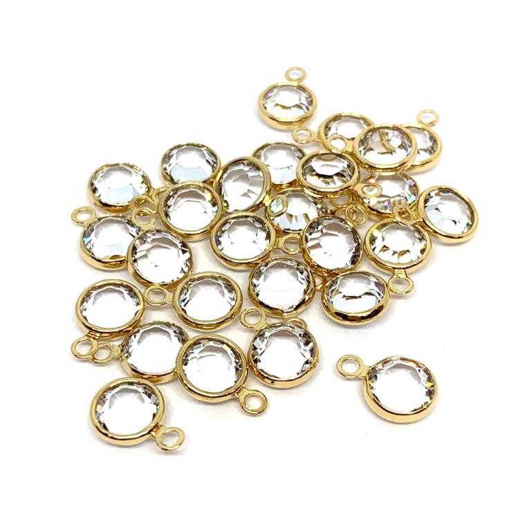 Gold Plated Swarovski Channel Charm - 6mm - Crystal (April Birthstone)