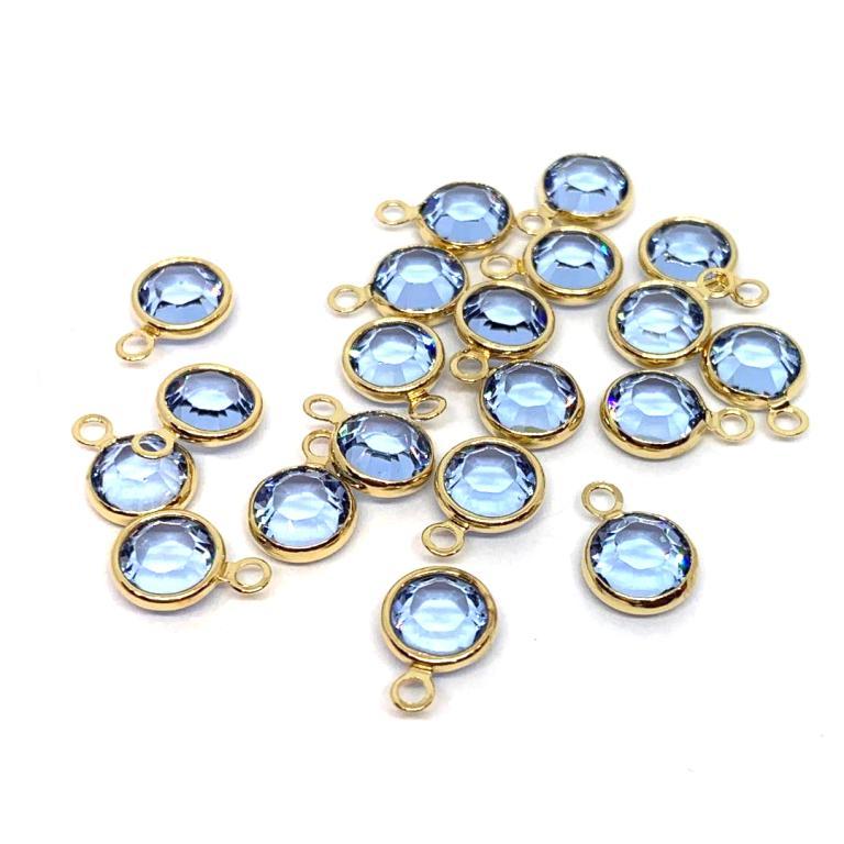 Gold Plated Swarovski Channel Charm - 6mm - Light Sapphire (July Birthstone)